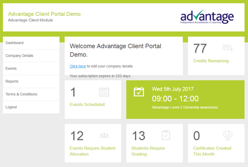 Advantage Accreditation client portal